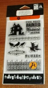 CLEAR ACRYLIC HAMPTON ART STAMPS & STENCILS The Best Haunted House wrk CTMH blk