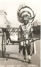 South Africa: Zulu Riksha Boy, Durban - B/W RP - Unposted c.1930's