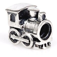 Locomotive Train Charm Bead 925 Sterling Silver