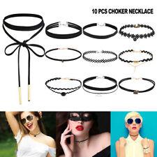 10pcs Retro Black Choker Necklace Set Stretch Velvet Classic Gothic Tattoo Lace