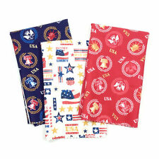 Patriotic Half Yard Fabric Bundle 3 Novelty Prints Red Blue Gold USA
