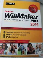 WillMaker Plus 2014 by Quicken  ESTATE PLANNING SOFTWARE  New!!