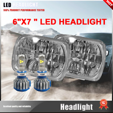 2X H4 LED Light Bulbs 7x6 Square Headlight 6000K Super White Fits Renault Fuego