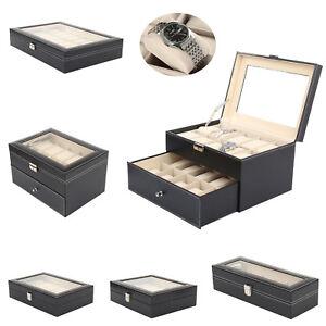 6/12/20/24 Faux Leather Watch Case Display Box Storage Jewellery Glass Top UK