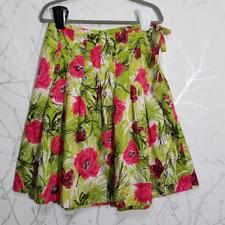Talbots Green Floral Print Pleated A-Line Skirt w/ Waist Tie | Women's 8