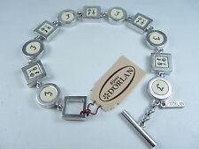 "Enamel - 8"" Length 0118 D'Orlan Rhodium Plated Bracelet with"