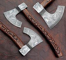 "Beautiful AXE   Sheath Custom Handmade Damascus Steel"" Carved Rose Wood Handle"