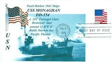 USS MONAGHAN DD-354 Pearl Harbor 1941 Blue Photo Cacheted Naval First Day Cover
