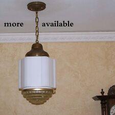 958 Vintage aRT DEco 30s 40's Ceiling Light Lamp Fixture Glass hall bath ANTIQUE