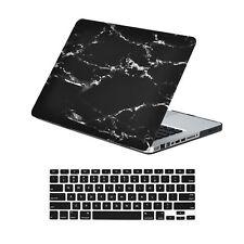 "Black Marble Matte Case + Keyboard Cover for Macbook Pro 13"" Model: A1278"