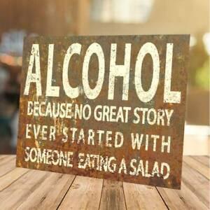 Alcohol Funny Sign retro vintage metal Plaque man cave shed home bar pub garden