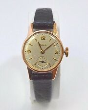 W504-  Doxa Ladies Watch 14K Rose Gold Case Leather Band Swiss