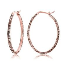Rose Gold Tone over Sterling Silver Oxidized Etched Design Oval Hoop Earrings