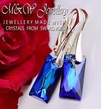 925 Silver Earrings Queen Baguette 13.5mm - Bermuda Blue Made With Swarovski®