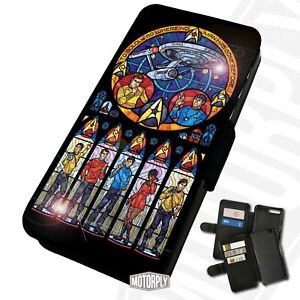 Printed Faux Leather Flip Phone Case For Huawei - Star-Trek-Stained-Glass