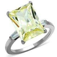 1514 EMERALD STAINLESS STEEL SIMULATED DIAMOND RING CITRINE YELLOW BAGUETTE