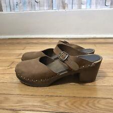 Sandgrens 39 9 Brown Leather Wooden Platform Mule Lisbon Clog Heel Anthropologie