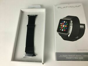 Platinum Magnetic Stainless Steel Mesh Band for Apple Watch 6 5 4 44mm 42mm BLK