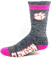 Clemson Tigers NCAA Two Pink Stripe Gray Heather and Pink Crew Socks