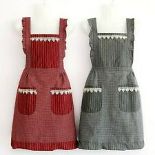 Fashion Cotton Two-Layers Aprons for Women Vintage Cooking Retro Apron/2 Pockets