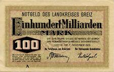 Germany 100 Billions Mark 1923 Greiz A #00001