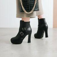 Block High Heels Ankle Boots Women Platform Causal Pump Dress Party Ladies Shoes