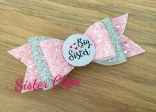 "Girls Handmade pink & silver big sister glitter 4"" hair bow clip"