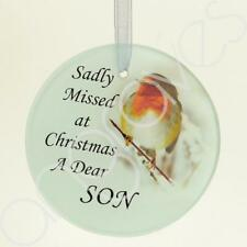 Son Christmas Robin Memorial  Tree Hanging Decoration Gift Plaque Momento Tribut