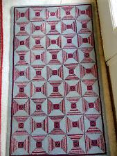 "Early 1900S Wool Rug -Provenance-33 x 56"" Fabulous Geometric Design-Gray, Dark R"