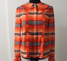 Temperley London Rust Mix Bacall Pleated Chiffon Blouse Shirt SIZE UK 8 ... #*7
