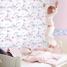 Blanc et violet licorne Papier Peint-Fun 4 Walls for kids by FINE DECOR FD41922