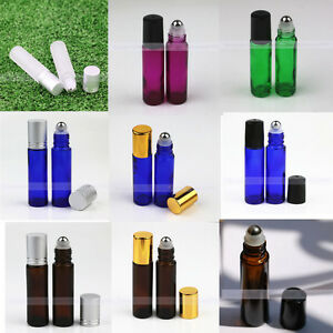 10ml Solid color Glass Roll on Bottles Metal Roller Ball Essential Oils Perfume