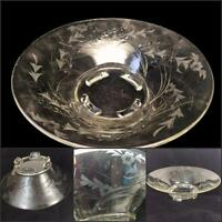 Elegant Glass Vtg Etched Console Centerpiece Crystal Bowl 4 Toe Paddle Feet