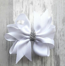 "WHITE CHRISTMAS 3"" HANDMADE HAIR RIBBON BOW GIRLS CHILDREN BABY ALLIGATOR CLIP"