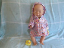 Zapf Creations baby born doll 8 outfits incl ZC raincoat, potty