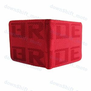Red Custom Stitched Fabric Wallet Bifold Leather Seat Gradation S BRIDE Racing