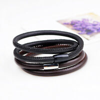 Men Women Genuine Leather Bracelet Stainless Steel Magnetic Buckle Clasp Bangle