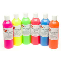 6 x 300ml Fluorescent Coloured PVA Glue Colour Slime Making School Home Crafts