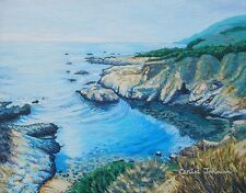 Original Big Sur Cove Cerise Johnson Painting with 50 Note Cards & Envelopes