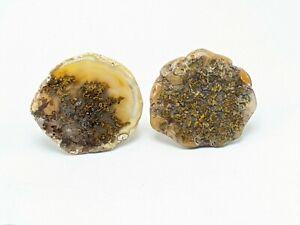Vintage Moss Agate Stone Mid-Century Modern Cufflinks Huge Statement