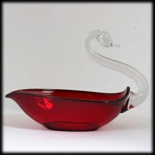 Duncan and Miller Pall Mall Ruby Swan Bowl Figural Crystal Neck Vintage Glass