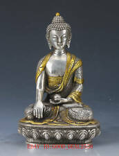 Chinese Silver Copper Gilt Hand Carved Buddha Statue Fx11