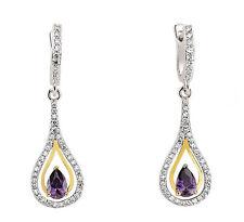 Amethyst Earrings Sterling Silver Drop Yellow Gold Detail Drops