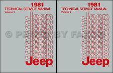 1981 Jeep Repair Shop Manual CJ 5 CJ7 CJ8  Scrabmler Cherokee Wagoneer Truck