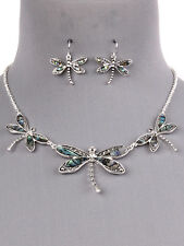 Dragonfly Abalone Shell Silver Tone Necklace Earrings Women Fashion Jewelry Set