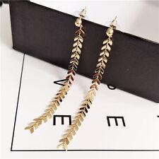14K Yellow Gold Plated Long Dangle Drop Fashion Earrings 054