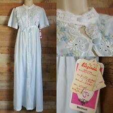 70's Gilead Poly Cotton Embroidered Lace Long Coat Night Gown Size Medium #Bb25