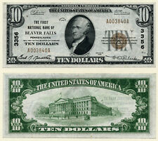 Beaver Falls PA $10 1929 T-1 National Bank Note Ch #3356 First NB XF+