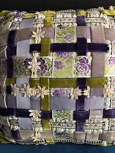 Vintage Handmade Pillow Ribbon Basket Weave Purple Green Velvet Daisy Square