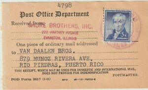 5c Liberty Solo Certificate  Of Mailing To Puerto Rico Clean Rare:  Stamp Is XF